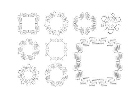 wreath collection: Vector Calligraphic Frame and Ornament Set. Retro Borders and Wreath Collection.