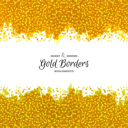 borders abstract: Hand Drawn Golden Borders. Abstract Dotted Textures. Vector Painted Decorations.