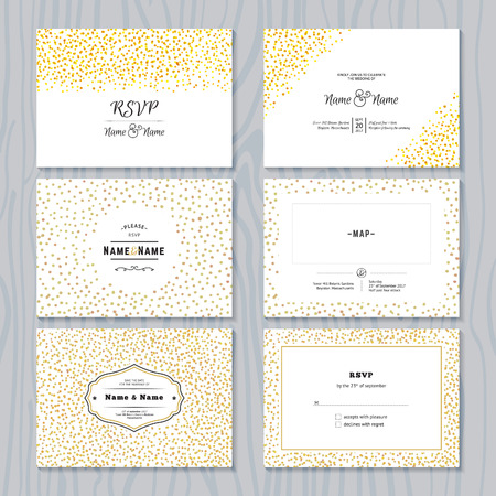 love gold: RSVP Cards Set with Gold Confetti Borders. Vector Wedding Invitations Design. Illustration