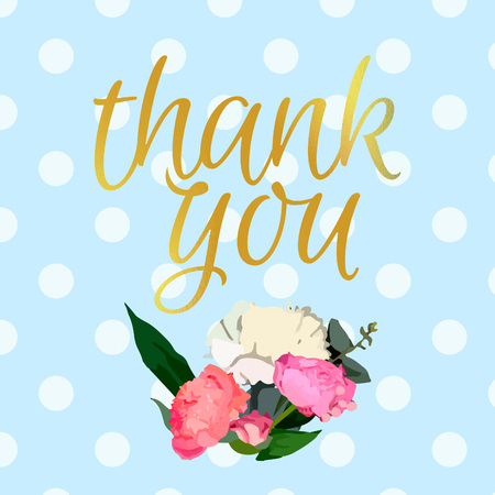 Thank You Card with Flowers. Vector Gold Type. Cute Colorful Dotted Banner.
