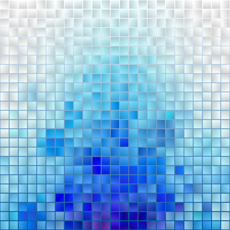 Abstract Mosaic Cloud. Vector Pixel Paint Background. Blue and White Illustration for Banner, Card, Poster, Identity, Web Design. Vettoriali