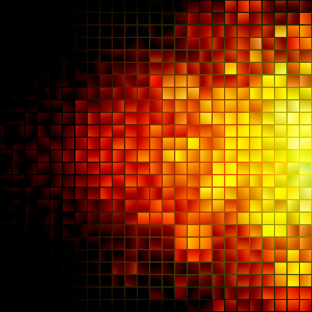 Abstract Explosion Mosaic Illustration. Vector Fire Background.
