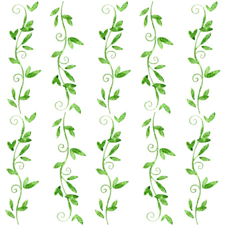 Vectorized watercolor drawing with leaves. Vector natural background