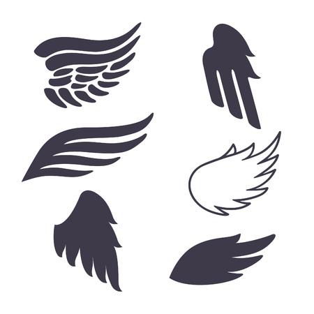 alas de angel: Conjunto de seis siluetas vector Alas. Elementos de Logos, Tatuajes, etiquetas y Modelos insignias.