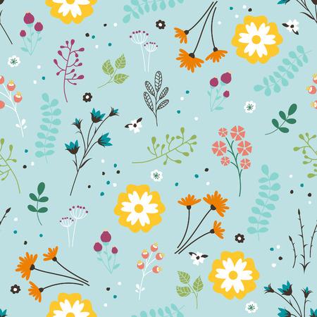 Vector pattern: Floral Pattern Seamless. Vector Damask Endless với hoa, lá và quả mọng. Beautiful Summer Background. Hình minh hoạ