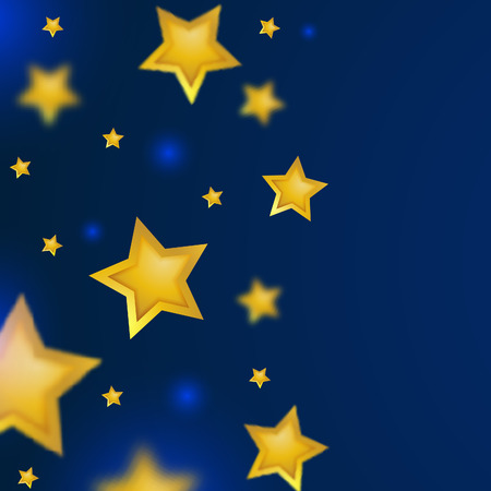 Summer Night Sky Background. Vector Shooting Stars Illustration. Falling Gold Stars with Blurred Effect.