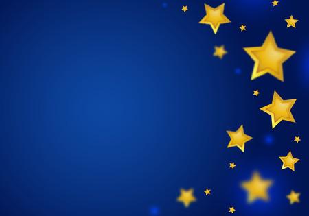 抽象的なブルーの背景の星の罫線。ボケ味を持つ金の星に落ちる。パーティの招待状の魔法の図。  イラスト・ベクター素材