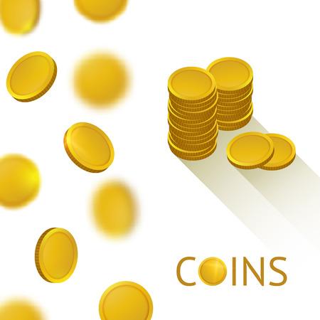 cash: Conjunto de oro brillante monedas. La ca�da de la ilustraci�n de dinero. Antecedentes Vector Bank. Icono de efectivo. Vectores