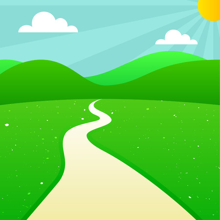 sunshine background: Green Summer Landscape with Sun, Sunshine, Clouds, Hills, Meadow and Road. Vector Outdoor Illustration. Scenic Countryside Background. Illustration
