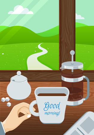 downshifting: Businessman Morning Illustration with Coffee and Newspaper. Vector Banner.