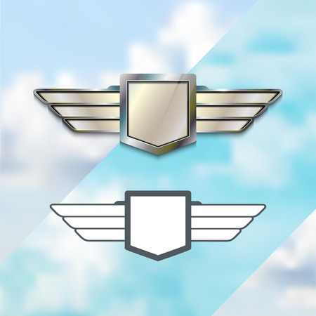 piloto: Aerolínea Plata Concepto Logo. Plata sesión de metal con alas. Vector emblema. Icono Elementos plantilla.