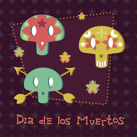 mexican cartoon: Set of the Mexican cartoon sugar skulls with flowers