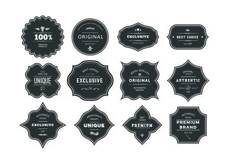 Set of Retro Styled Black Labels with Frames. Vector Classic Isolated Decorative Tags.  イラスト・ベクター素材