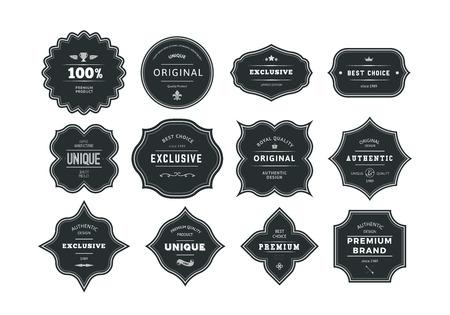 gestalten: Set von Retro-Stil Schwarz Labels mit Frames. Vector Klassische Isolated Decorative Schlagwörter.