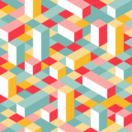 Colorful Isometric Seamless Pattern. Randome Puzzle Vector Background. Geometric Graphic Pixel Lego Blocks.