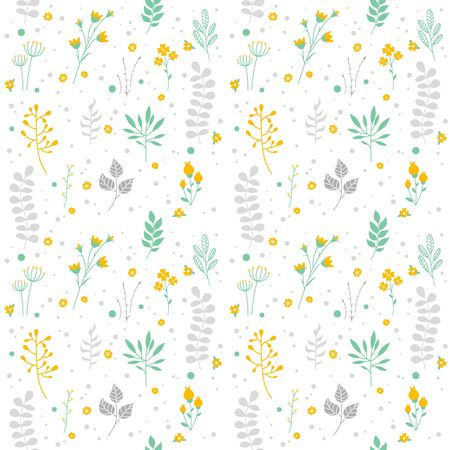 retro pattern: Abstract Floral Graphic Seamless Pattern. Summer Texture Design with Branches, Flowers, Ferns and Dots. Vector Decorative Background.