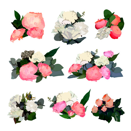 peonies: Set of Beautiful Floral Bouquets. Collection of Composition with Flowers, Leaves and Branches Isolated on White.