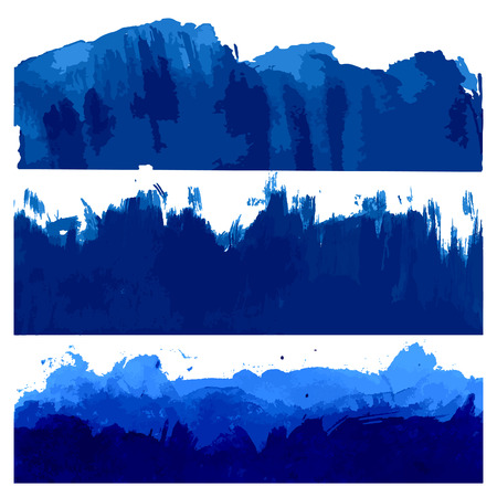 Set of Blue Watercolor Paintbrush Borders. Vector Water Texture. Ocean and Sea Waves Illustration.
