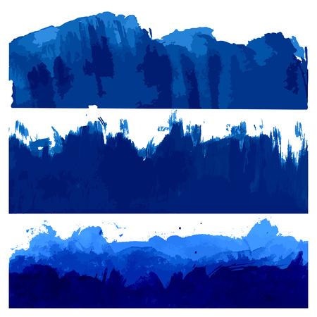 Set de Blue Aquarelle Pinceau frontières. Vecteur Texture eau. Mers et Océans Vagues Illustration. Banque d'images - 44501543