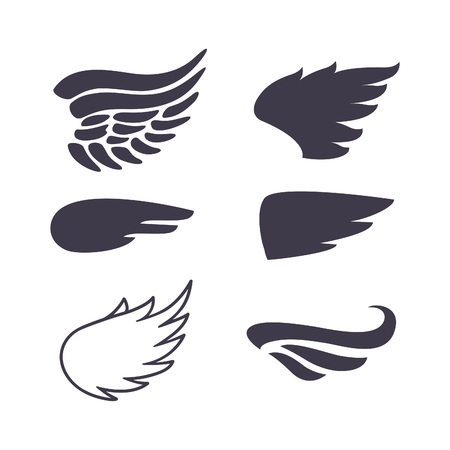 Set of Six Wings Silhouettes. Decoration Elements for Label, Logos, Emblems and Icons. Vector Isolated Tattoo Feathers.