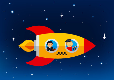 business space: Cartoon Taxi Business Concept. Flying Vector Car Illustration. Space Background with Stars. Yellow Rocket with Checkers.