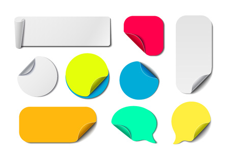 wrapped corner: Big Awesome Set of Isolated Vector Labels. Colorful Paper Tags Collection. Blank Office Fold Stickers. Illustration