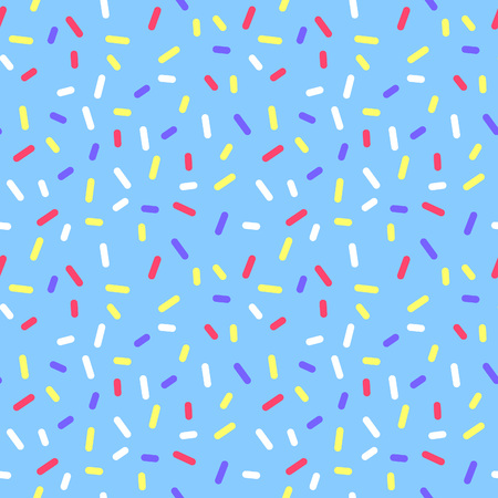 Blue Abstract Donate Colorful Glaze with Sprinkle Confetti. Holiday Seamless Pattern. Sweet Food Illustration.