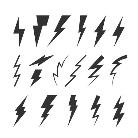 electric charge: Set of Thunderbolts Silhouettes. Vector Isolated Symbols. Flat Thunderstorm Illustrations for Logos, Badges, Icons and Signs.
