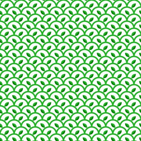 natural health: Green and White Waves Seamless Pattern with Leaves. Vector Linear Ornament. Natural Eco Vegetarian Health Food Background.