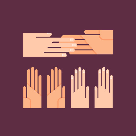 business symbol: Flat Vector Palms Set. Shaking Hands Business Symbol. Colorful Icon and Logo Illustration.
