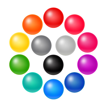 3d button: Set of Many Colorful Balloons. Vector Rainbow Matte Orbs. 3D Spectrum Buttons.