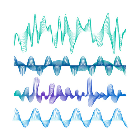 vibrations: Set of Colorful Modern Equalizers. Frequency Vector Illustration. Music Waves Concept Elements.