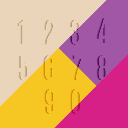 web 2 0: Set of Transparent Numbers with Shadow on Colorful Background. Template Vector Volume Numeric Concept.