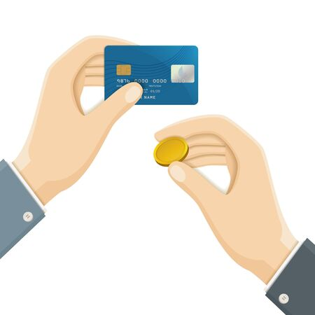 cardholder: Two Hands with Plastic Credit Bank Card and Gold Coin. Vector Business Illustration. Illustration