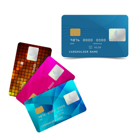 credit card payment: Set of Colorful Credit Cards Isolated on White. Vector Illustration of Plastic Bank Card with Pigeon. Cashless Payment Icon.