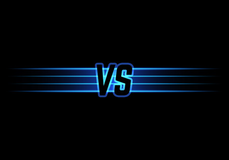 versus: Blue Neon Versus Logo. VS Vector Letters Illustration. Competition Icon. Fight Symbol.