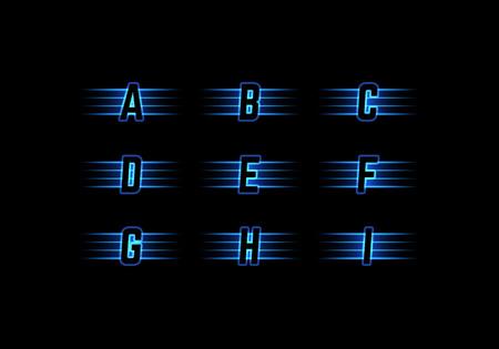 typeset: Part of Blue Neon Light Alphabet Font with Stripes. Vector Typeset.