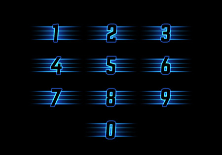 web 2 0: Blue Neon Vector Numerals. Luminous Numbers with Stripes. Shiny Symbols for Logos, Icons, Competitions.