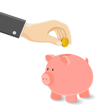 Hand Put Gold Coin on Moneybox. Vector Piggy Bank Illustration. Isolated Business Concept of Money Accumulation.
