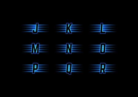letter j: Part of Blue Neon Light Alphabet. Vector Font with Stripes. Glow Typeset.
