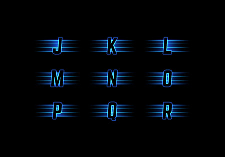 Part of Blue Neon Light Alphabet. Vector Font with Stripes. Glow Typeset.