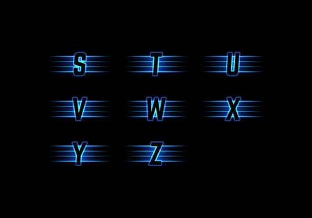 Part of Blue Neon Light Alphabet. Vector Font with Stripes on Black Background. Glow Typeset. Vettoriali