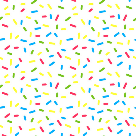 Colorful Donuts Glaze Seamless Pattern with Sprinkle Topping. Vector Bakery Texture. Abstract Food Decoration. Illustration