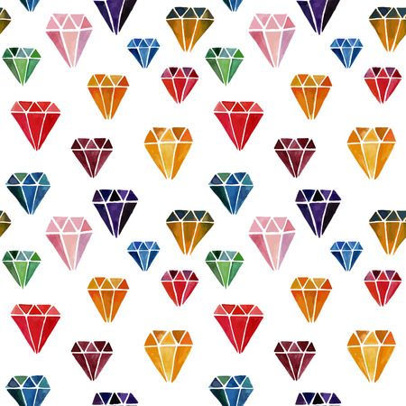 jewels: Colorful Seamless Pattern with Watercolor Hand Drawn Diamonds. Vector Background with Jewels.
