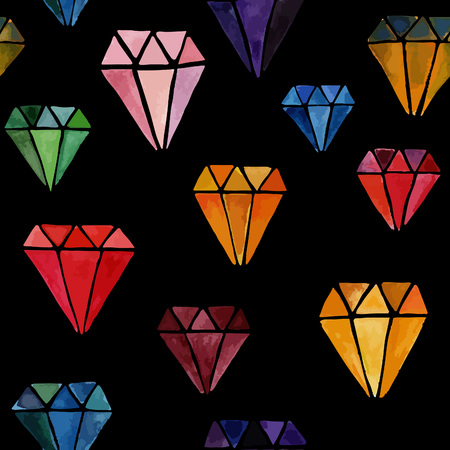 diamonds isolated: Colorful Seamless Pattern with Watercolor Hand Drawn Diamonds Isolated on Black Background. Vector Endless Texture with Jewels.