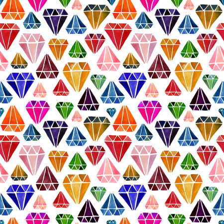 jewels: Awesome Colorful Seamless Pattern with Watercolor Hand Drawn Diamonds Isolated on White Background. Vector Endless Texture with Jewels.