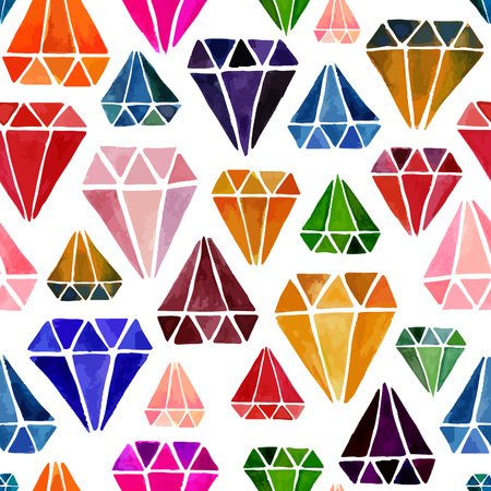 jewels: Bright Colorful Seamless Pattern with Watercolor Diamonds. Crystals Isolated on White Background. Vector Endless Texture with Jewels.
