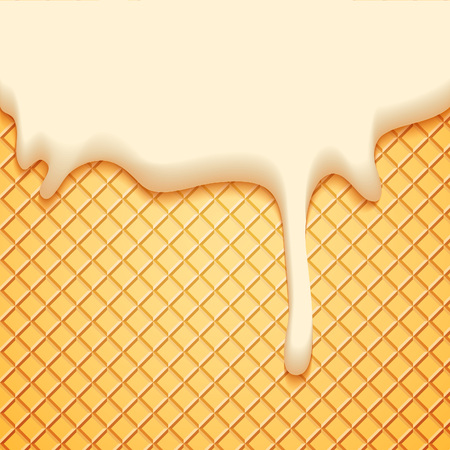 dessert: Abstract Vector Illustration with Milk Plombir Ice Cream and Wafer. Delicious Food Background.