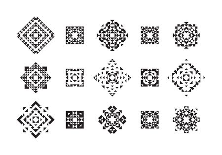 indian tattoo: Set of Geometric Ethnic Elements. Vector Tribal Design. Black Aztec Style Art Isolated on White Background.