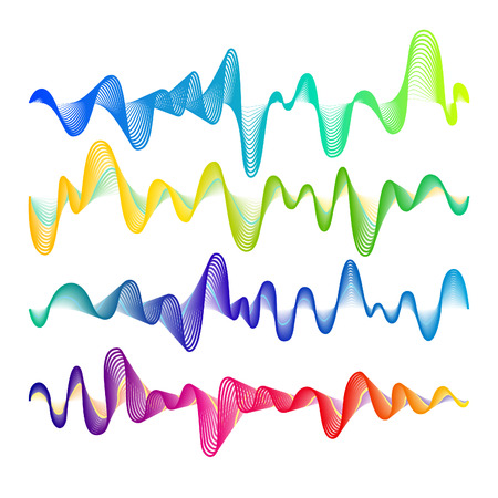 vibrations: Set of Rainbow Colored Modern Equalisers. Frequency Vector Illustration. Music Waves Concept Elements Isolated on White Background.